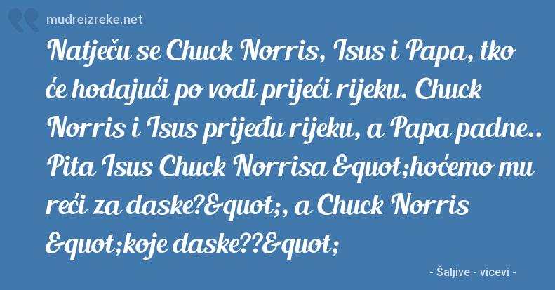 """Poruka: Natječu se Chuck Norris, Isus i Papa, tko će hodajući po vodi prijeći rijeku. Chuck Norris i Isus prijeđu rijeku, a Papa padne.. Pita Isus Chuck Norrisa """"hoćemo mu reći za daske?"""", a Chuck Norris """"koje daske??"""""""